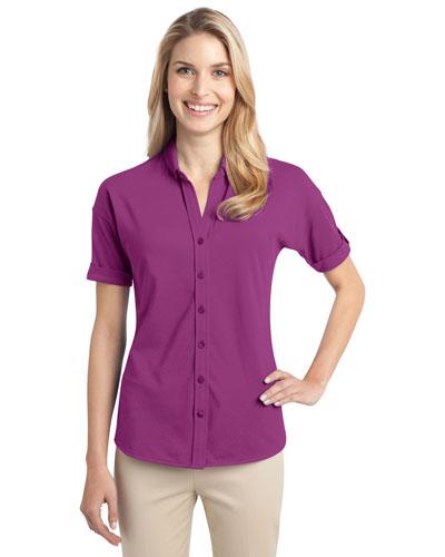 Port Authority L556 Women Stretch Pique Button Front Shirt at GotApparel