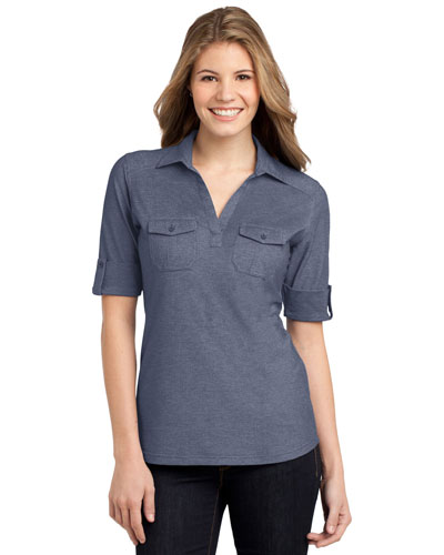 Port Authority L557 Women Oxford Pique Double Pocket Polo at GotApparel