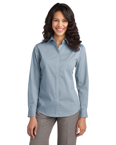 Port Authority L647 Women Fine Stripe Stretch Poplin Shirt at GotApparel