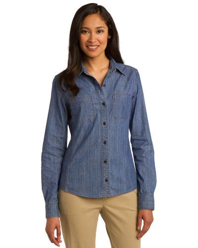 Port Authority L652 Women Patch Pocket Denim Shirt at GotApparel