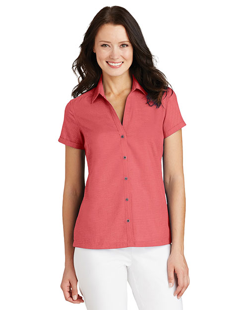 Port Authority L662 Women Textured Camp Shirt at GotApparel