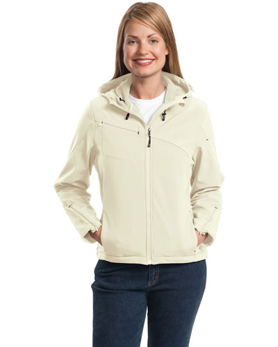 Port Authority L706 Women Textured Hooded Soft Shell Jacket at GotApparel