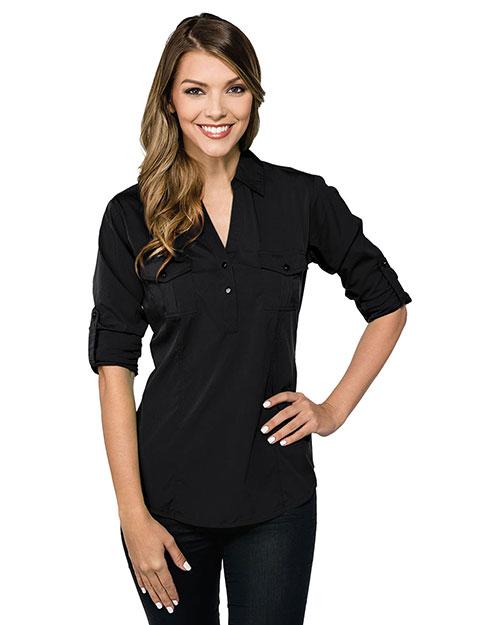 Tri-Mountain LB756 Women Lilac Bloom Reagan Long-Sleeve Woven Pullover Shirt at GotApparel