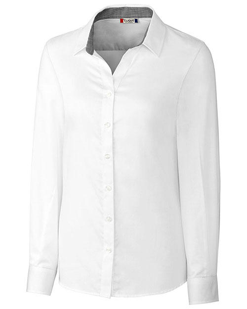 Clique New Wave LQW00010 Women Long-Sleeve Bergen Stain-Resistant Twill Button Shirt at GotApparel
