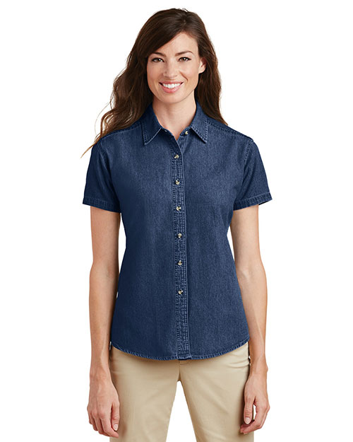 Port & Company LSP11 Women Short-Sleeve Value Denim Shirt at GotApparel