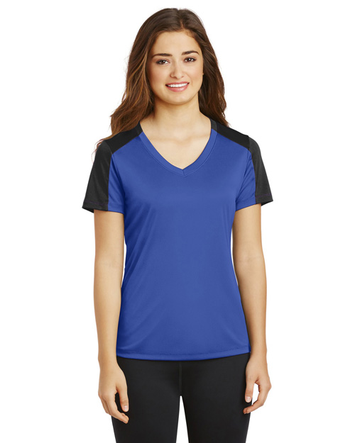 Sport-Tek® LST354 Women   PosiCharge®  Competitor  Sleeve-Blocked V-Neck Tee at GotApparel