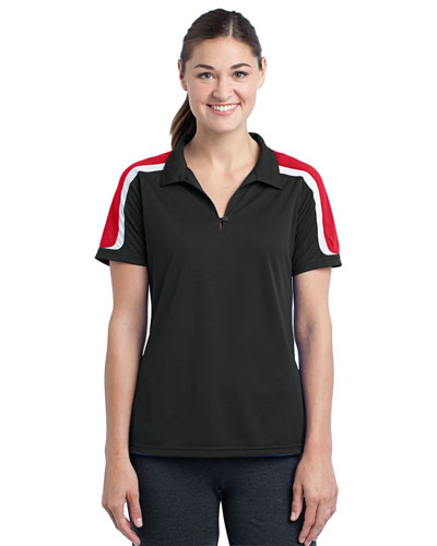 Sport-Tek® LST658 Women Tricolor Shoulder Micro Pique Sportwick Polo at GotApparel