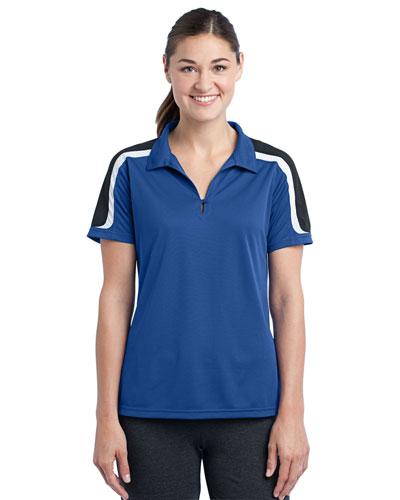 Sport-Tek® LST658 Women Tricolor Shoulder Micro Pique Sportwick Polo at GotApparel