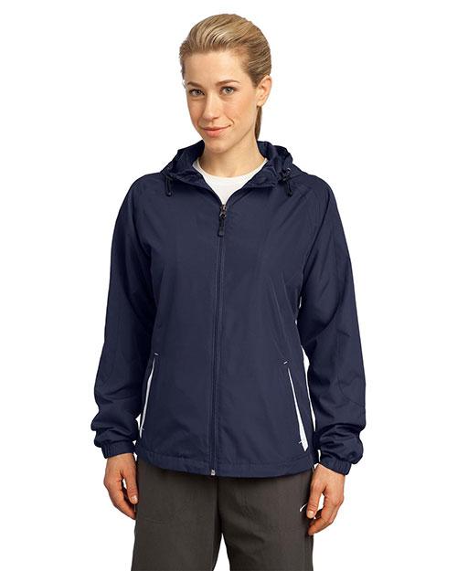 Sport-Tek® LST76 Women Colorblock Hooded Raglan Jacket at GotApparel