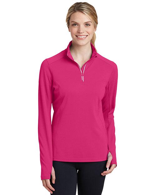 Sport-Tek® LST860 Women Textured 1/4-Zip Pullover at GotApparel