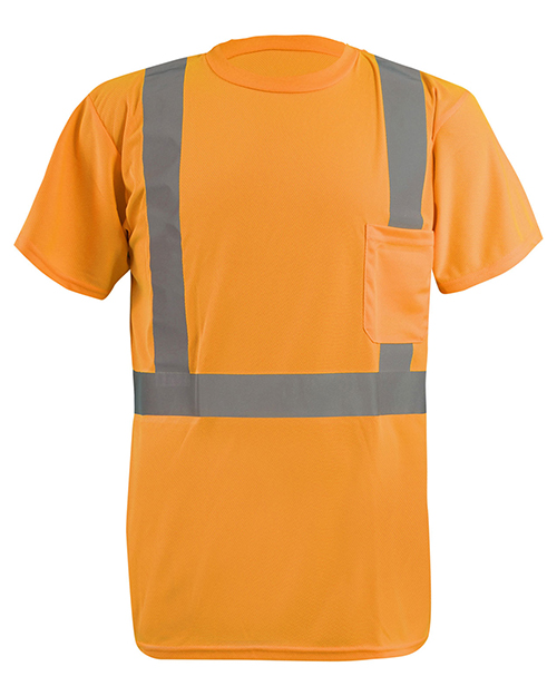 OccuNomix LXSSETP Men LUX-SSETP2B-Orange and Yellow Sizes Reflective Pocket T-Shirt at GotApparel