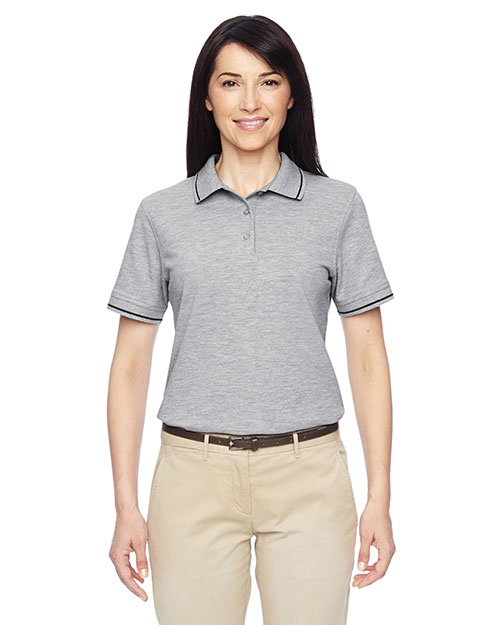 Harriton M270W Women 5.6 Oz. Tipped Easy Blend  Polo at GotApparel