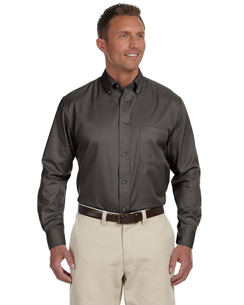 Harriton M500 Men Easy Blend Long-Sleeve Twill Shirt With Stain-Release at GotApparel