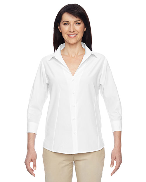 Harriton M610W Women Paradise Three-Quarter Sleeve Performance Shirt at GotApparel