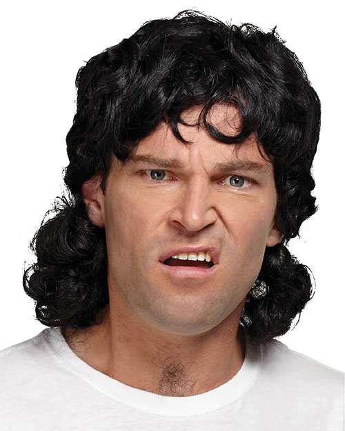 Halloween Costumes MR179030 Unisex Mullet Wig Black at GotApparel