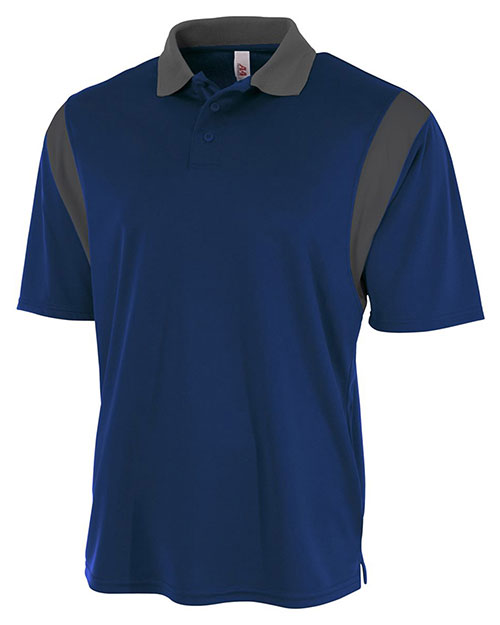 A4 N3266 Men Color Block Polo with Knit Collar at GotApparel