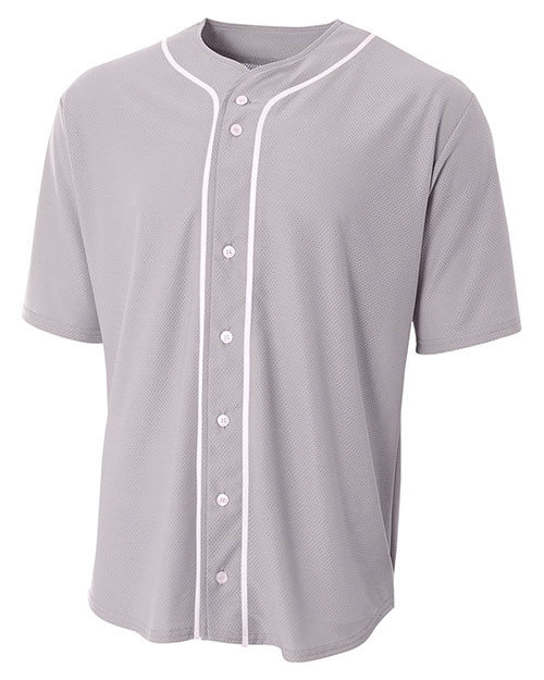 A4 NB4184 Boys Short-Sleeve Full Button Baseball Top at GotApparel