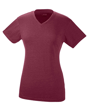 A4 Drop Ship NW3232 Women Short-Sleeve Fusion Performance V-Neck at GotApparel