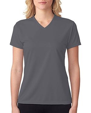 A4 Drop Ship NW3254 Women Shorts Sleeve V-Neck Birds Eye Mesh T-Shirt at GotApparel