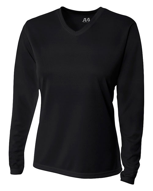 A4 NW3255 Women Textured Tech Long-Sleeve Tee at GotApparel