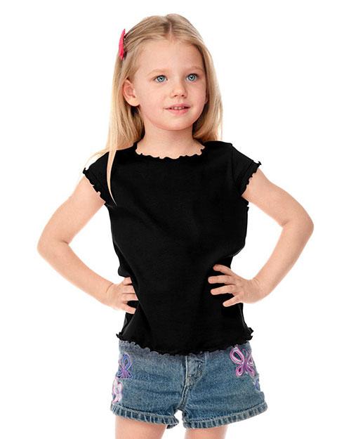 Little Girls 3-6X Lettuce Edge Scoop Neck Cap Sleeve Top at GotApparel
