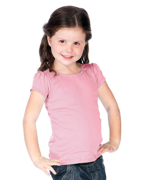 Little Girls 3-6X Scoop Neck Puff Sleeve at GotApparel