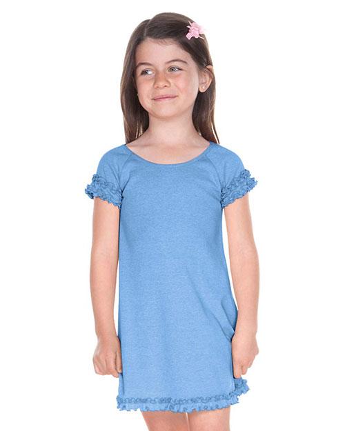 Girls 3-6X Lettuce Edge Raglan Cap Sleeve Dress at GotApparel