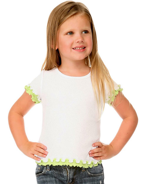 Little Girls 4-6X Lettuce Edge Short Sleeve Top at GotApparel