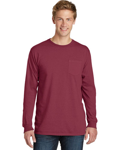 Port & Company PC099LSP Men Essential Pigment-Dyed Long-Sleeve Pocket Tee at GotApparel