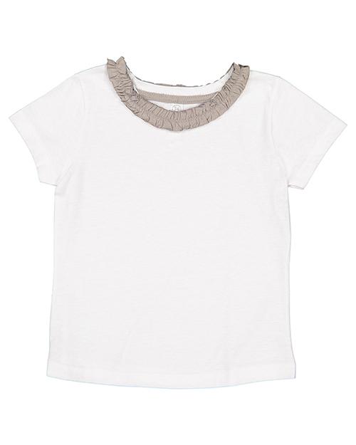 Rabbit Skins RS3329 Toddler Girls Ruffle Neck T-Shirt at GotApparel