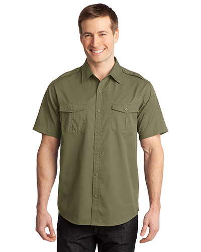 Port Authority S648 Men Stain-Resistant Short-Sleeve Twill Shirt at GotApparel