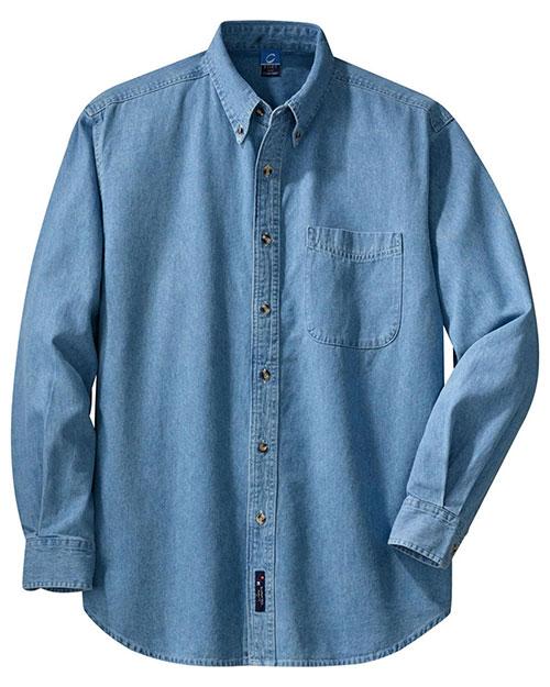 Port & Company SP10 Men Long-Sleeve Value Denim Shirt at GotApparel