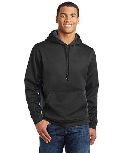 Sport-Tek® ST239 Men Sport-Wick Camohex Fleece Colorblock Hooded Pullover at GotApparel