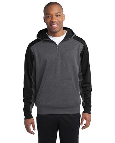 Sport-Tek® ST249 Men Tech Fleece Colorblock 1/4-Zip Hooded Sweatshirt at GotApparel