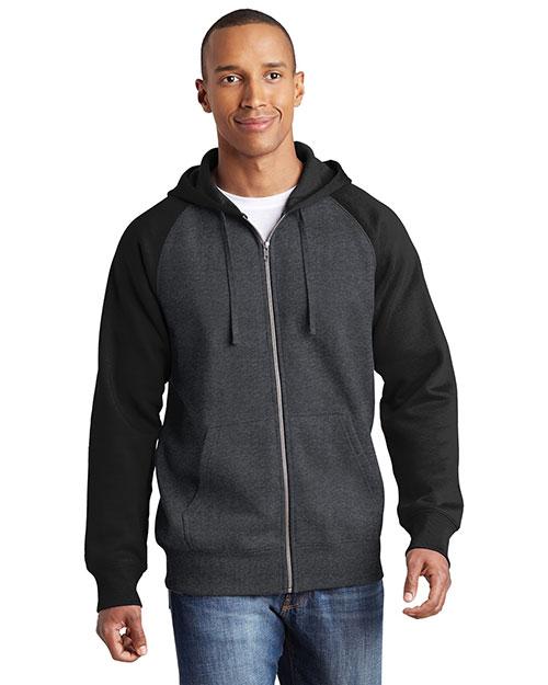 Sport-Tek® ST269 Adult Raglan Colorblock Full-Zip Hooded Fleece Jacket at GotApparel