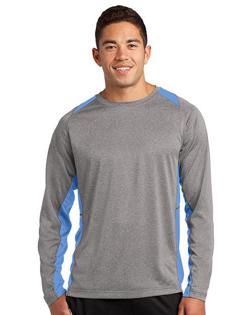 Sport-Tek® ST361LS Men Long-Sleeve Heather Colorblock Contender   Tee at GotApparel