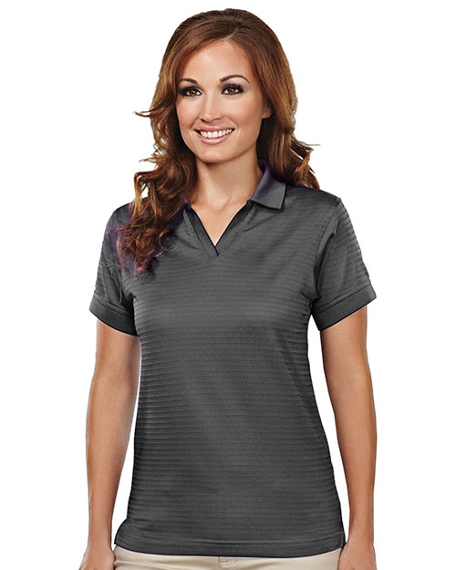 Tri-Mountain 402 Women Aura Basket Knit Short-Sleeve Johnny Collar Golf Shirt at GotApparel