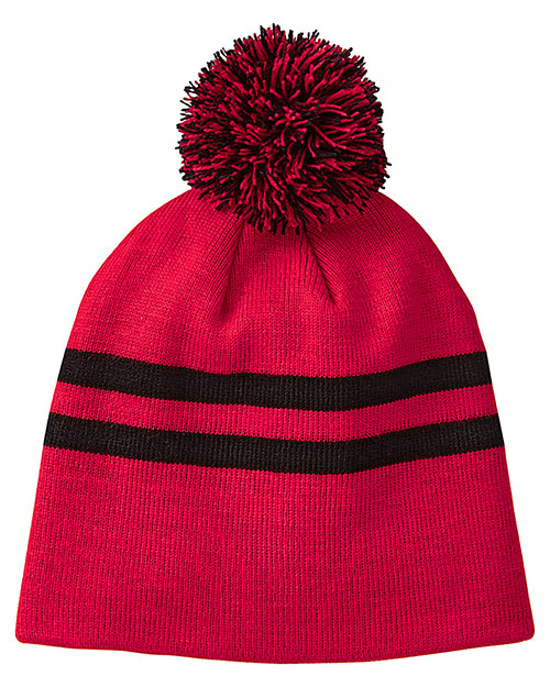 Team 365 TT122 Women Striped Pom Beanie at GotApparel