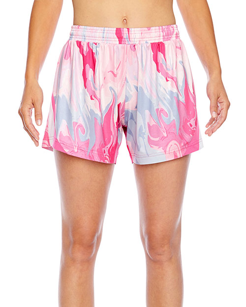 Team 365 TT42W Women All Sport Sublimated Pink Swirl Short at GotApparel