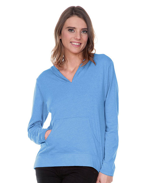 Women 2XL Sheer Jersey Raw Edge High Low Long Sleeve Hoodie with Pouch at GotApparel