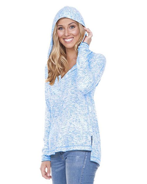 Women 2XL Static Jersey Print Raglan Long Sleeve High Low Hoodie at GotApparel
