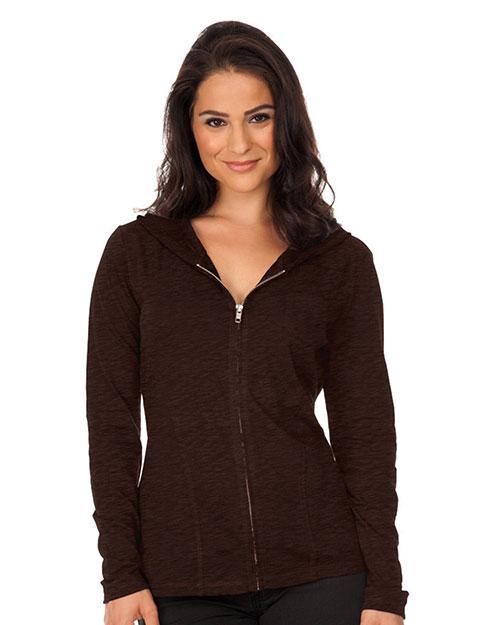 Women 2XL Slub Jersey Long Sleeve Zip Hoodie W. Penny Pocket at GotApparel