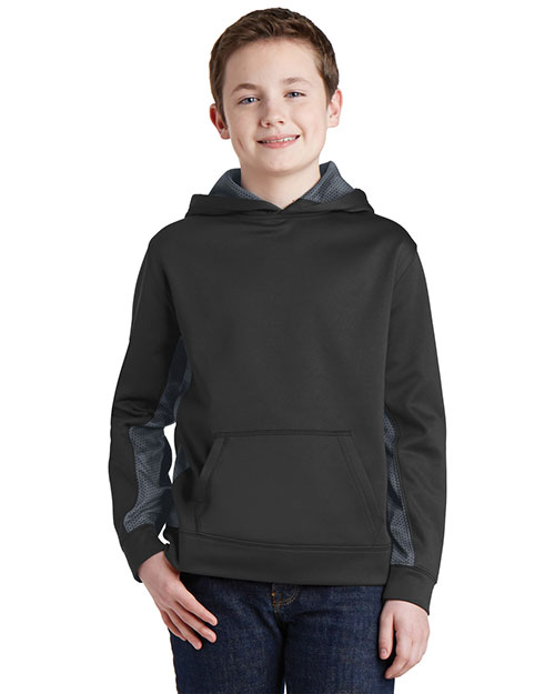 Sport-Tek® YST239 Boys Camohex Fleece Colorblock Hooded Pullover at GotApparel