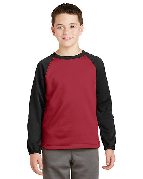 Sport-Tek® YST242 Boys Raglan Colorblock Fleece Crewneck at GotApparel