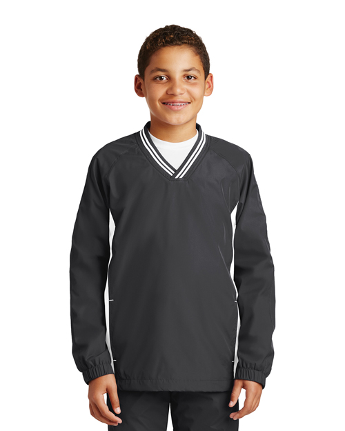 Sport-Tek® YST62 Boys Tipped V-Neck Raglan Wind Shirt at GotApparel