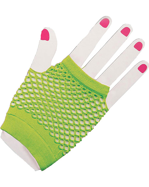 Halloween Costumes FM63020 Unisex Gloves Fingerles Fishnet Green at GotApparel