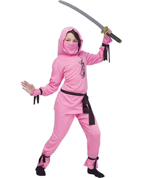 Halloween Costumes FW8708PKSM Girls Pink Ninja Child Small 4-6 at GotApparel