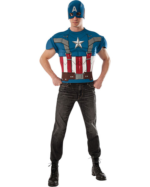 Halloween Costumes RU820001 Men Captain America Top Adult at GotApparel