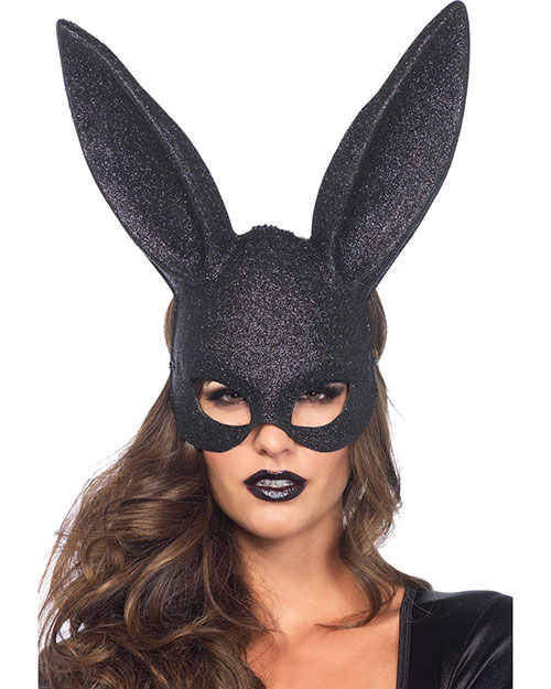 Halloween Costumes UA3760BK Unisex Mask Rabbit Glitter Blk at GotApparel