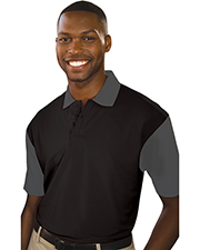 Blue Generation BG1054 Men S IL-50 COLOR BLOCK POLO  -  BLACK 2 EXTRA LARGE SOLID at GotApparel